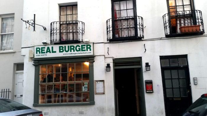 grass fed Real burger in Cheltenham, England