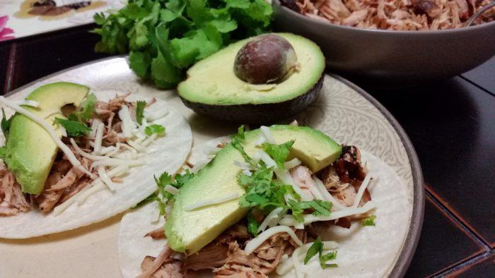 pork cilantro carnitas with avocado tacos