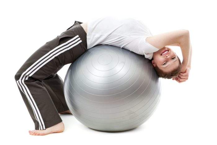 lady with pilates ball